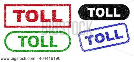 Toll Grunge Stamps. Flat Vector Scratched Seal Stamps With Toll Title Inside Different Rectangle And