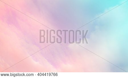 Sky Pastel Color Sun And Cloud. Blue Orange Pink Gradient Abstract Smooth Peaceful Morning Summer Ba