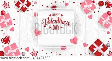 Greeting Card Of Happy Valentine's Day In A Square Frame On A White Background Surrounded By Red And