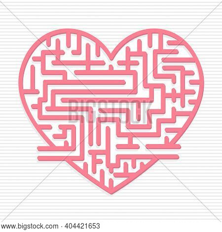 Heart-shaped Maze With An Entrance And An Exit With Thick Lines In Pink On A White Backgrounds. Vect