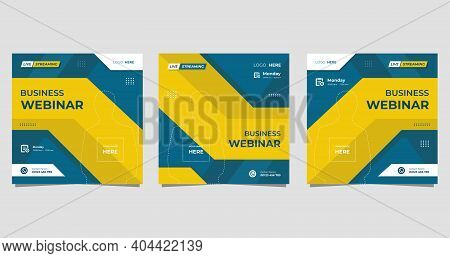 Set Of Minimalist Social Media Post Template For Business Webinar, Creative Webinar, Online Educatio
