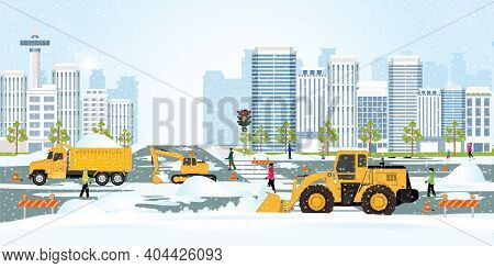 Snow Plow Truck Cleaning Urban Residential Area Streets Winter Snow Removal, Concept Modern City Bui