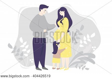 Motherhood. Family Vector Flat - Happy Pregnant Woman In A Yellow Dress, Gently Hugs Her Belly. Next