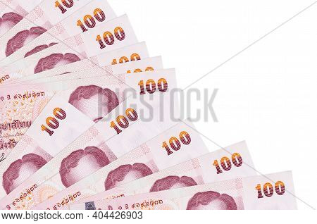 100 Thai Baht Bills Lies Isolated On White Background With Copy Space Stacked In Fan Close Up. Payda