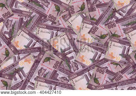 500 Sri Lankan Rupees Bills Lies In Big Pile. Rich Life Conceptual Background. Big Amount Of Money