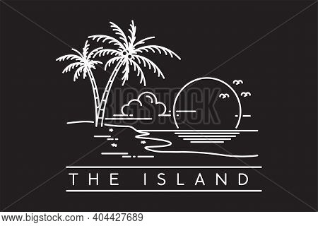 Sunset On A Tropical Island Beach. Tropical Island Monoline Design Vector Illustration Isolated On B