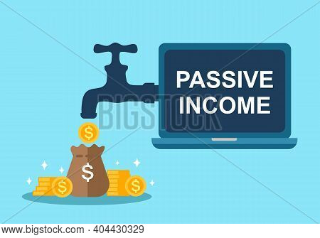 Money From Tap And Computer In Flat Design. Passive Income Concept Vector Illustration. Business Inv