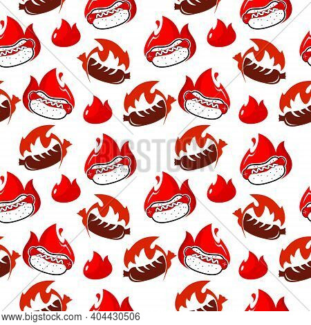 Cartoon Hot And Spicy Sausage Hot Dog Street Foods Seamless Pattern Background Template Idea