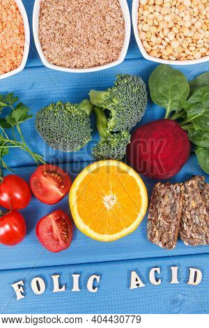 Inscription Folic Acid With Nutritious Different Ingredients Containing Vitamin B9, Dietary Fiber An