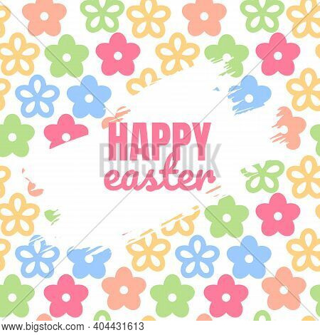 Easter Layout, Background With Colorful Flowers On White Background. Christian Holiday Banner Or Inv