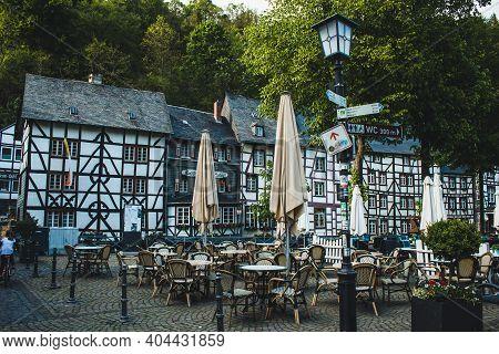 Monschau, Germany - Mai 22 2019: Small Picturesque Town In The Eifel Region In Noth Rhine-westphalia