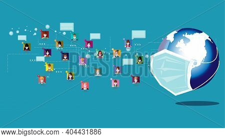 Population  Put Mask Health, World Put Mask Health For Protection Covid 2019,social Distance,new Nor