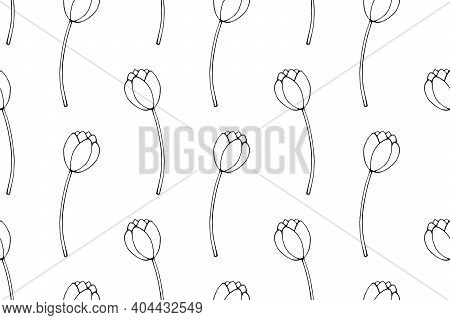 Vector Seamless Pattern With Outline Tulip Flowers. Hand Drawn Doodle Spring Texture, Background. Fo
