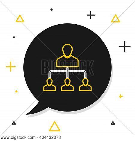 Line Referral Marketing Icon Isolated On White Background. Network Marketing, Business Partnership,