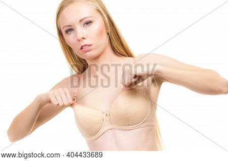 Female Wearing Too Big Bra, Wrong Size