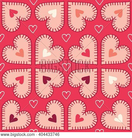 Valetnines Day Holiday Hand-drawn Craft Stitched Colorful Hearts On Red Background Vector Seamless P