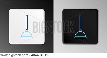 Line Rubber Plunger With Wooden Handle For Pipe Cleaning Icon Isolated On Grey Background. Toilet Pl