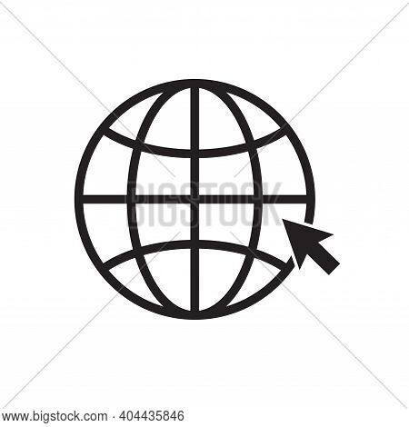 Globe Icon Isolated On White Background. Cursor Click Website Icon. Vector Illustration.