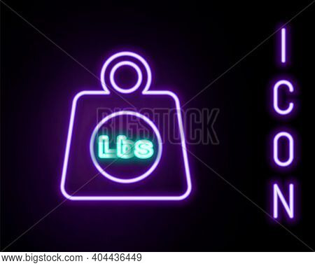 Glowing Neon Line Weight Pounds Icon Isolated On Black Background. Pounds Weight Block For Weight Li