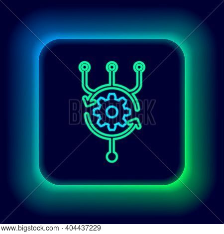 Glowing Neon Line Algorithm Icon Isolated On Black Background. Algorithm Symbol Design From Artifici