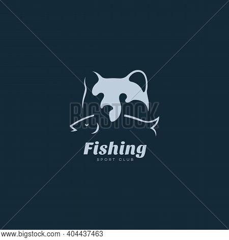 Grizzly Bear With A Fish Logo Design Template For A Dark Background. Vector Illustration.