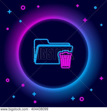 Glowing Neon Line Delete Folder Icon Isolated On Black Background. Folder With Recycle Bin. Delete O