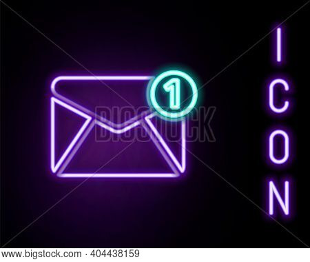 Glowing Neon Line Envelope Icon Isolated On Black Background. Received Message Concept. New, Email I