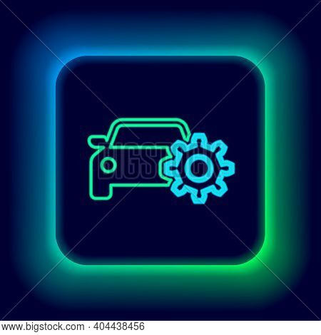 Glowing Neon Line Car Service Icon Isolated On Black Background. Auto Mechanic Service. Mechanic Ser