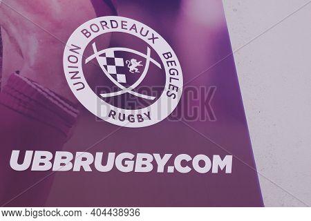 Bordeaux , Aquitaine  France - 01 18 2021 : Ubb Rugby Bordeaux Union Begles Logoand Text Sign France