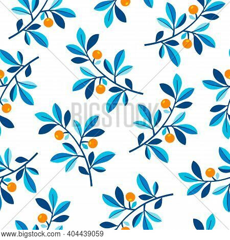 Orange Branches On White Background Seamless Vector Pattern. Isolated Citrus Tree Branches With Frui