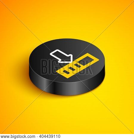 Isometric Line Loading Icon Isolated On Yellow Background. Download In Progress. Progress Bar Icon.