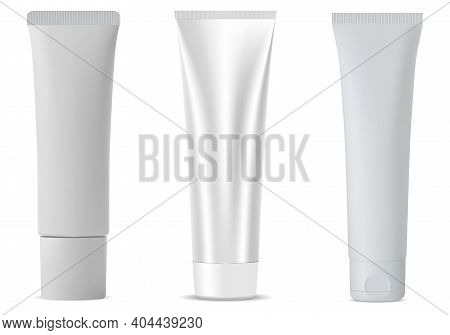 White Cosmetic Tube Mockup, Vector Plastic Blank Isolated Package For Lotion Or Toothpaste. Empty Fa