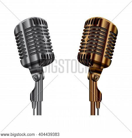 Vintage Microphone Vector. Radio Studio Audio Mic. Concert Stage Or Karaoke Microphone, Golden And S