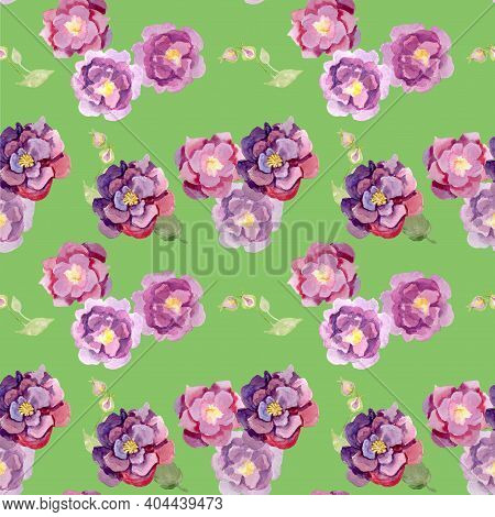 Fragment Of Colorful Retro Tapestry Textile Pattern With Floral Ornament Useful As Background. Flora