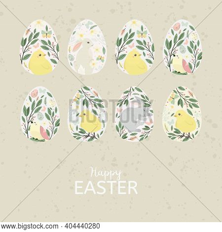 Easter Egg With Bird, Bunny. Vector Illustration.