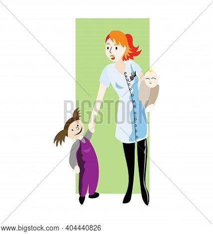Female Paediatrician - Child In Hand - Carrying A Baby - Flat Vector Isolated