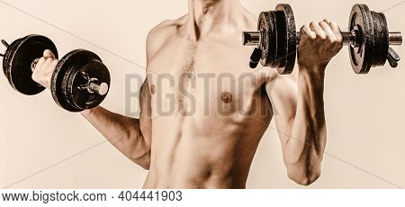 Man In Sports With Dumbbells. Weak Man Lift A Weight, Dumbbells, Biceps, Muscle, Fitness. Nerd Maler