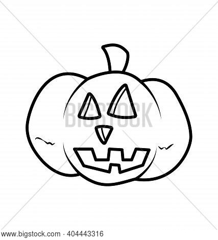 Halloween Pumpkin - Black And White - Vector Line Art Isolated