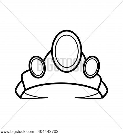 Diadem With Three Gems - Costume Icon - Black And White - Vector Line Art Isolated
