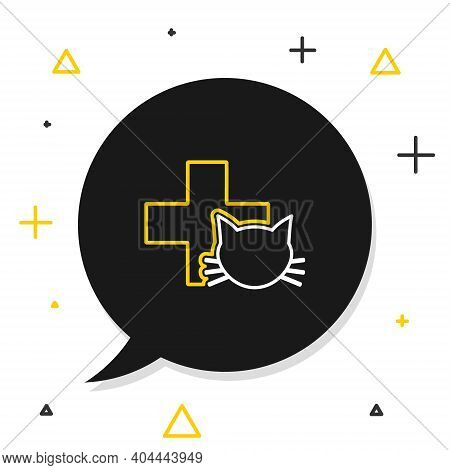 Line Veterinary Clinic Symbol Icon Isolated On White Background. Cross With Cat Veterinary Care. Pet