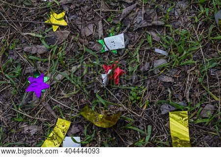 Shiny Holiday Tinsel On The Ground In The Park. Green Grass With Fallen Dried Leaves, Branches, And