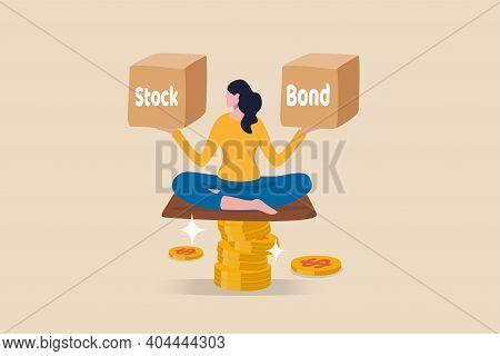 Diversify Portfolio Investment, Rebalance Between Stocks And Bonds, Passive Invest Wealth Accumulate