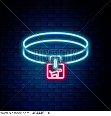 Glowing Neon Line Dog Collar With Name Tag Icon Isolated On Brick Wall Background. Simple Supplies F