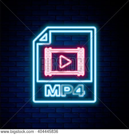 Glowing Neon Line Mp4 File Document. Download Mp4 Button Icon Isolated On Brick Wall Background. Mp4