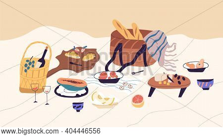 Still Life Of Beach Picnic. Blanket With Served Food And Alcohol For Romantic Date. Basket With Chee