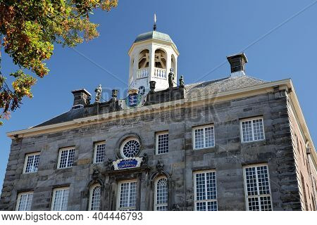 Close-up On The External Facade Of The Stadhuis (town Hall, Dated From 1686) Of Enkhuizen, West Frie