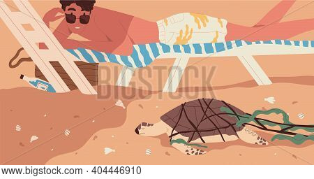 Extinction Of Wild Species Concept. Endangered Animal Extincting On Dirty Trashed Planet. Sea Turtle