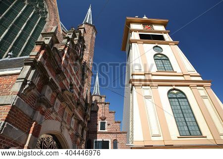 Westerkerk Church (or St Gomaruskerk) With A Separate Wooden Clock Tower On The Right, Enkhuizen, We