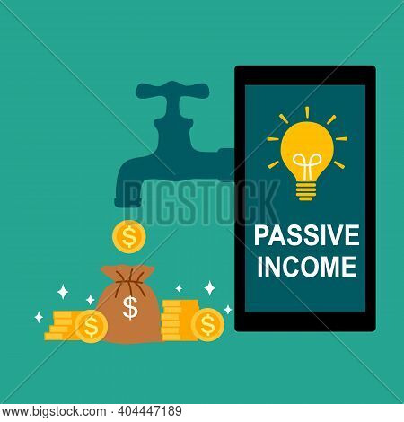Money From Tap Connected To Smartphone In Flat Design. Passive Income Concept Vector Illustration. O