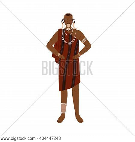 African Man Of Aboriginal Tribe Wearing Traditional Clothes And Ethnic Tribal Accessories Like Neckl